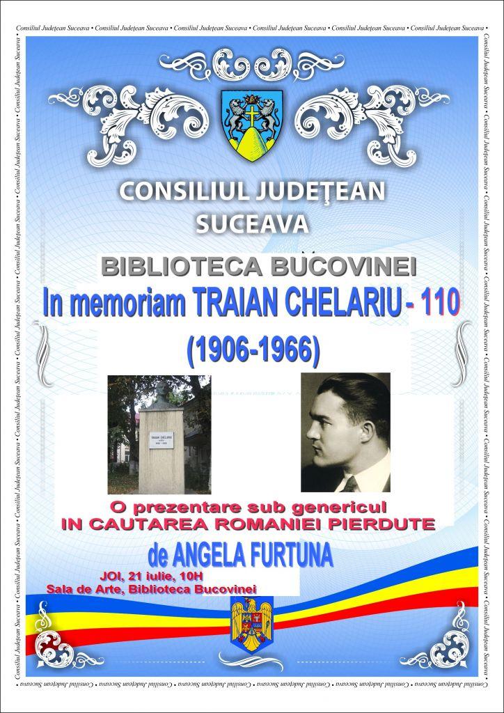 Afis In Memoriam Traian Chelariu 110 joi 21 iulie BB