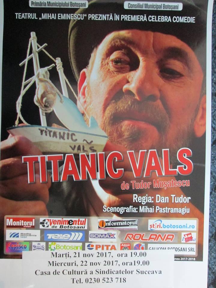 """Iubitorii teatrului, așteptați la """"Titanic Vals"""""""
