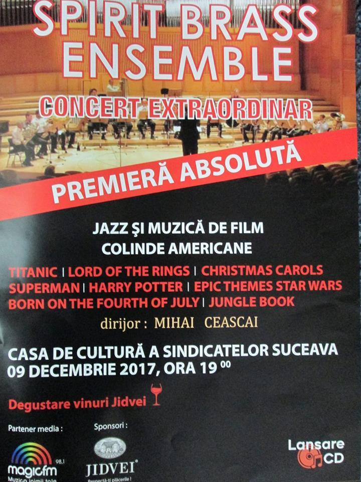 Concert de colinde, jazz şi muzică de film, cu Spirit Brass Ensemble