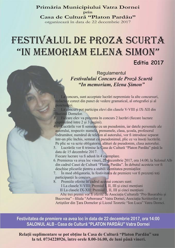 """Au început înscrierile la Festivalul de proză scurtă """"In memoriam Elena Simion"""""""