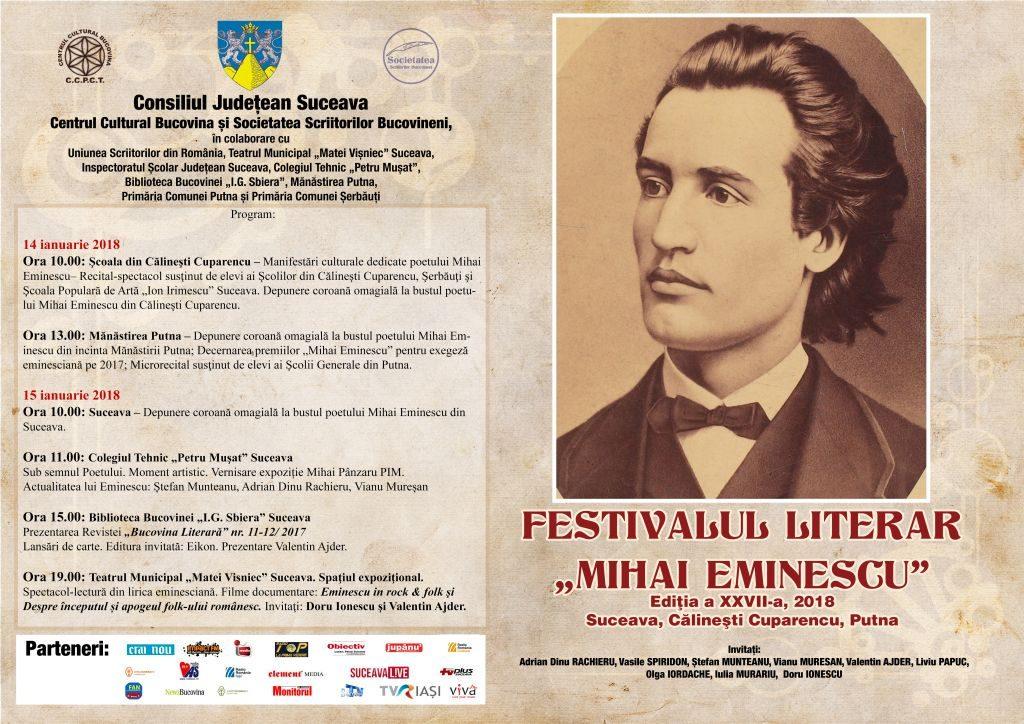 "Festivalul literar ""Mihai Eminescu"", ediția a XXVII-a"
