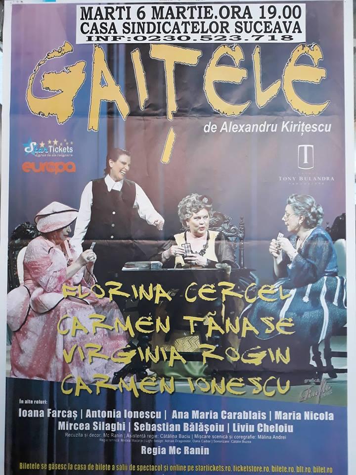 """Invitație la teatru, la spectacolul """"Gaițele"""""""