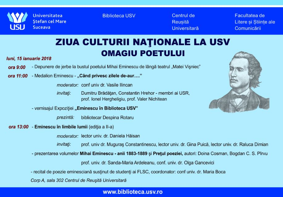 Ziua Culturii Naţionale va fi sărbătorită la USV