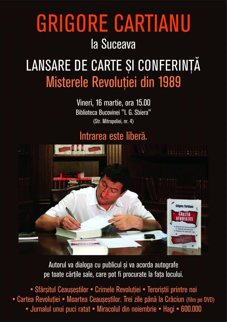 """Grigore Cartianu își va lansa cărțile la Suceava, unde va vorbi despre """"Crimele Revoluției Române"""""""