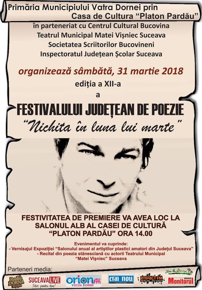 """O nouă ediţie a Festivalului Judeţean de Poezie """"Nichita în luna lui marte"""", la Vatra Dornei"""