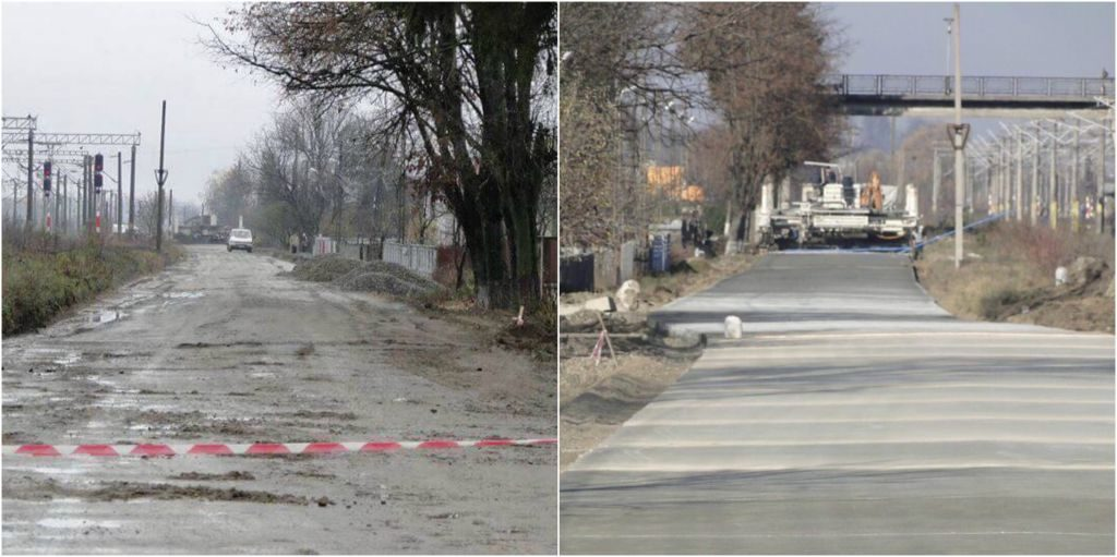 Strada Arșinel, înainte și după betonare